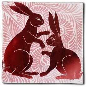 A beautiful Arts and Crafts hare tile by william de morgan c1872. Image from www.antique-marks.com