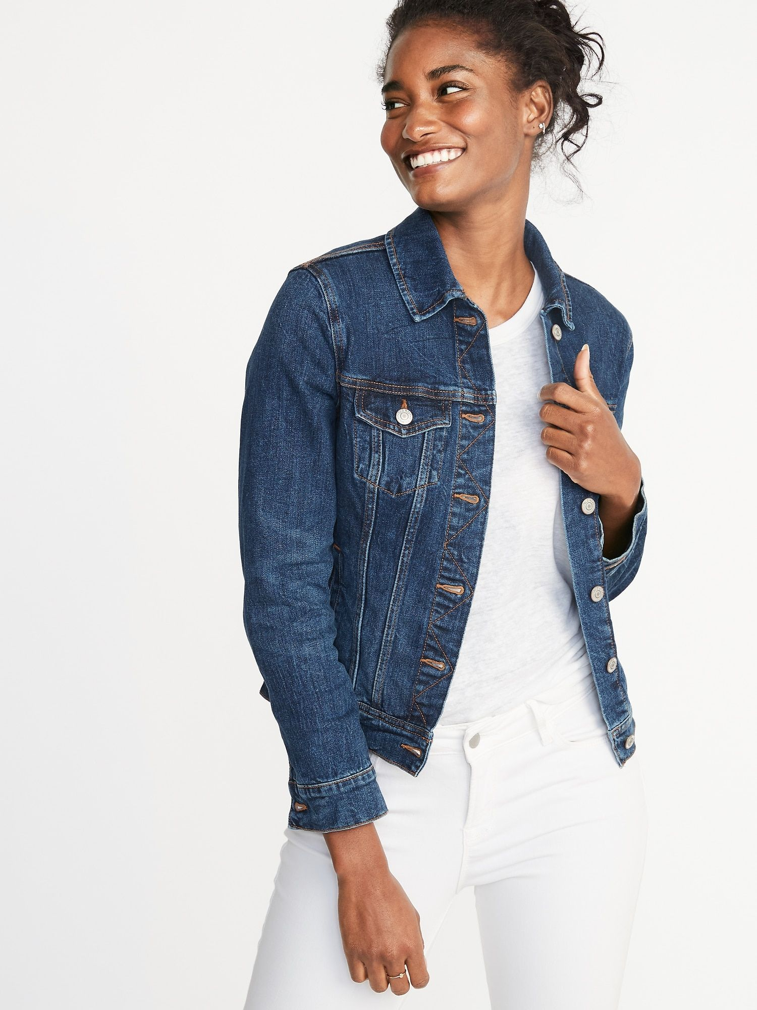 Love This Look For You All White With A Jean Jacket Is Great Bring A Sweater Solid Color That You Can Tie In 2021 Jackets For Women Denim Jacket Women Denim Jacket [ 2000 x 1500 Pixel ]
