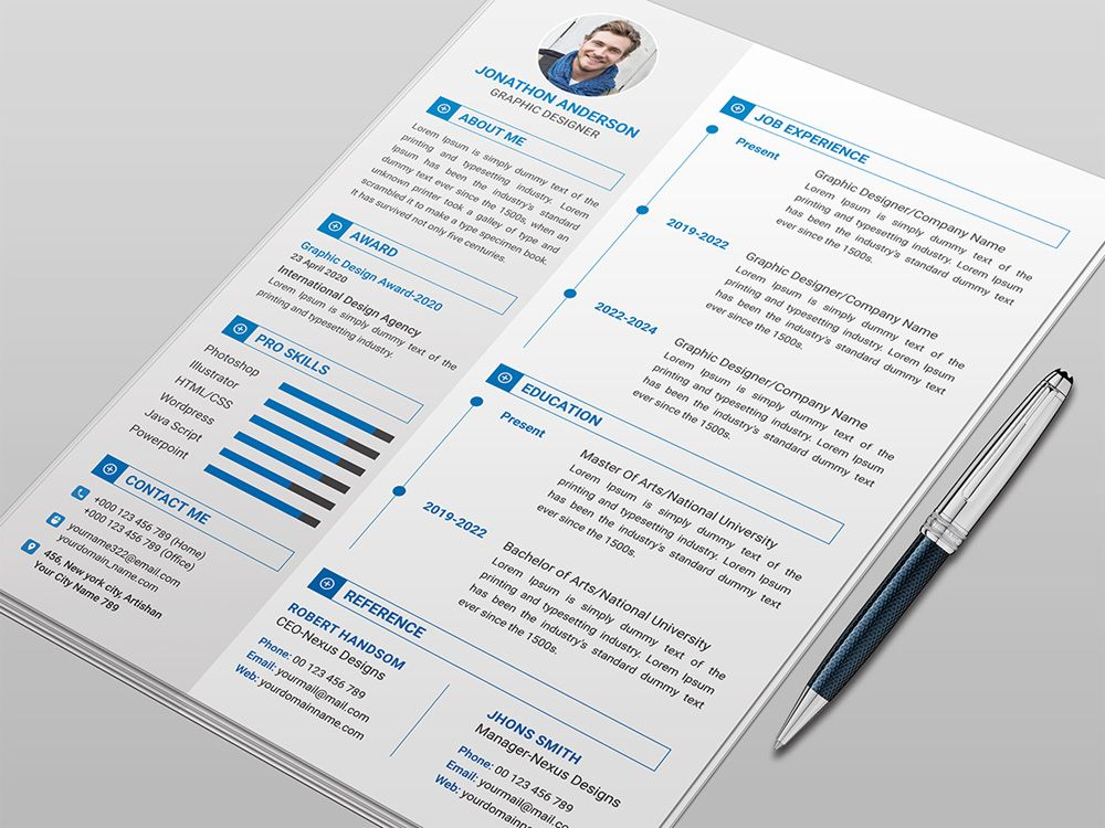 Anderson Is Free Clean Resume Template With Elegant Style Design To Present Your Profile For Your Next Job O Clean Resume Template Resume Template Clean Resume