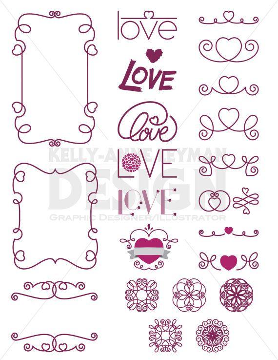 Love Digital Frames clipart, Digital Labels Clip Art set, Heart Love ...