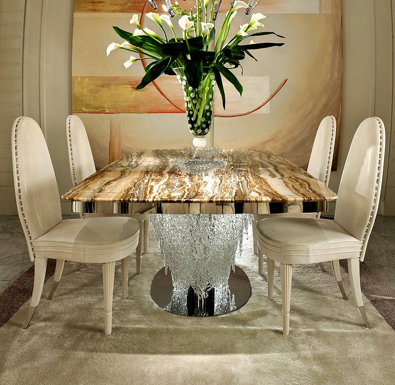 Nice Designer Onyx Dining Table With Italian Murano Glass Pendant Base On A  Polished Steel Base And Detailing.