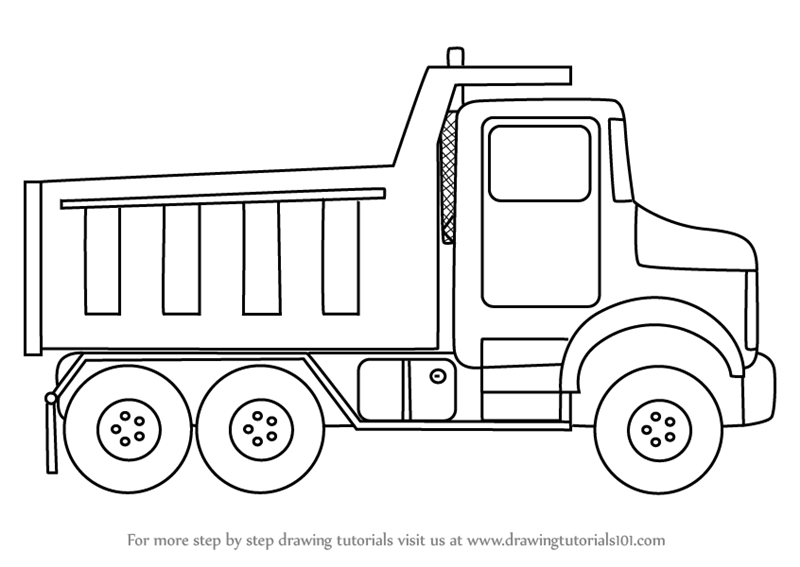 How to Draw Simple Dump Truck - DrawingTutorials101.com | Tattoo ...
