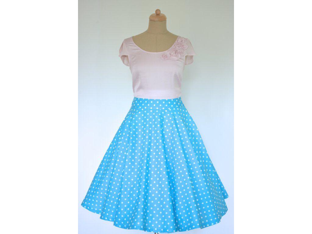 96ea834b0ab5 Kolová sukně modrá s puntíkem. plně kolová sukně délka 60 cm zip na levé  straně