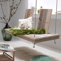 Beautiful wooden swing which you can DIY.