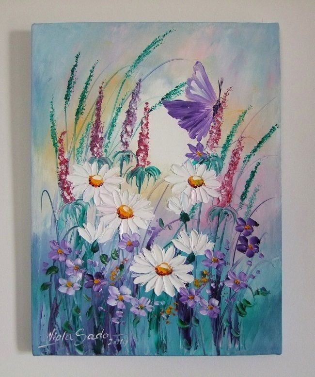 White daisies butterfly original oil painting impasto for Decor union 2000