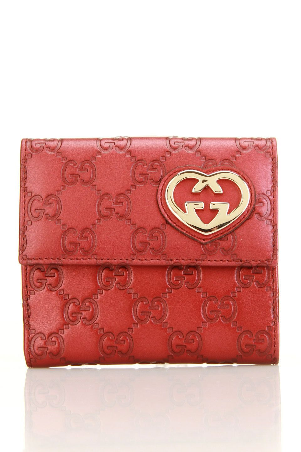 Gucci ladies lovely heart hardware wallet in pink wallet