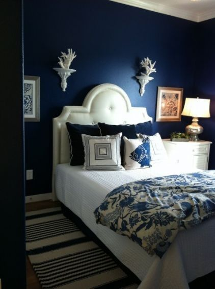 Great 25 Bold Bedroom Designs Created With Bright Bedroom Colors. I Love Color,  An I Love The Pop Of The White Coral Against The Dark Blue Wall . Photo Gallery
