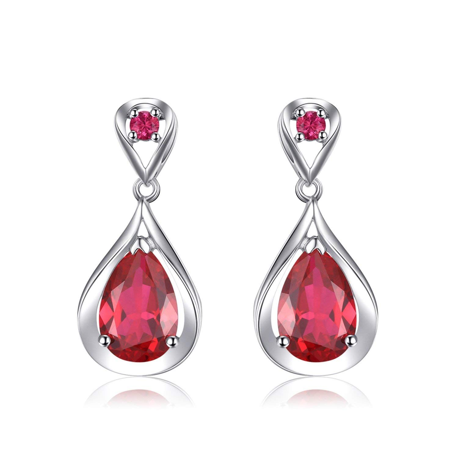 462b436120ef6 JewelryPalace Water Drop 8.8ct Created Red Ruby Dangle Earrings ...
