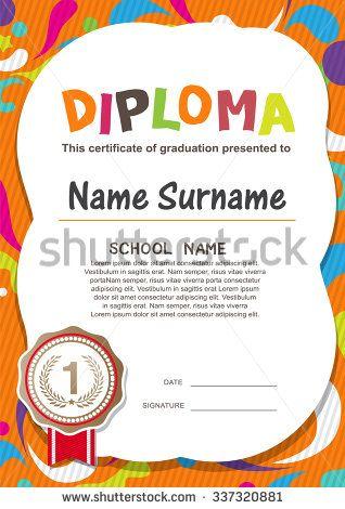 Preschool Kids Diploma certificate background design template - sample certificates for kids
