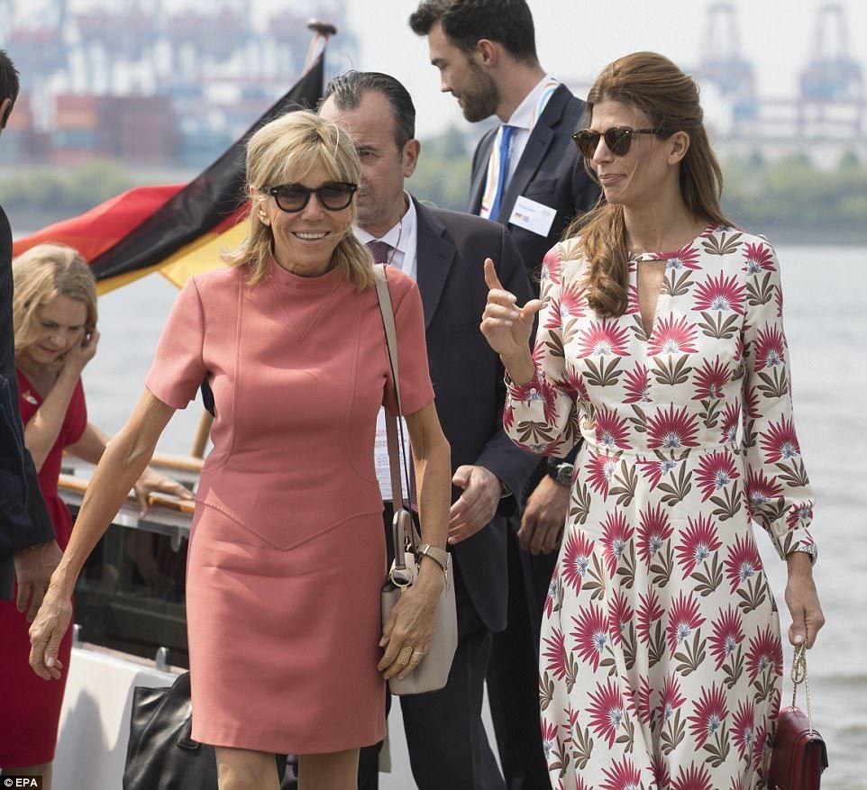 eb0ecc02e914d Day out: Brigitte Macron (left), wife of French President Emmanuel Macron,  and Juliana Awada (right) wife of Argentinian President Mauricio Macri were  among ...