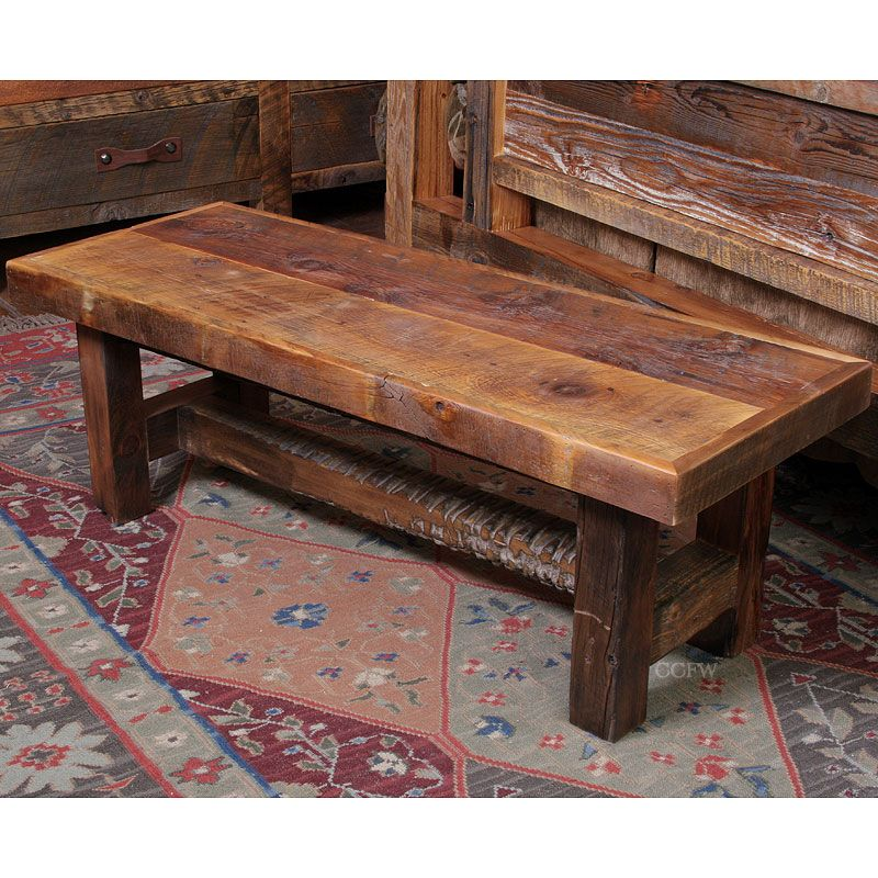 Black mountain reclaimed rustic wood bench by timber for Reclaimed wood table designs