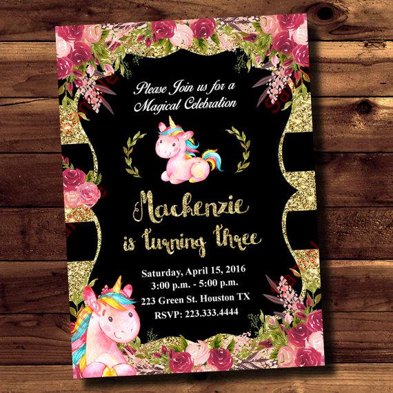 Invitación del cumpleaños invitación acuarela invitación de unicornio bebé niña invitación