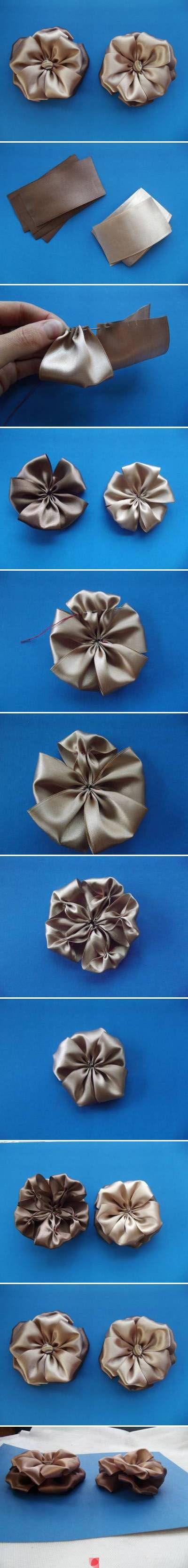 Virágok szalagból, selyemből #fabricbowtutorial