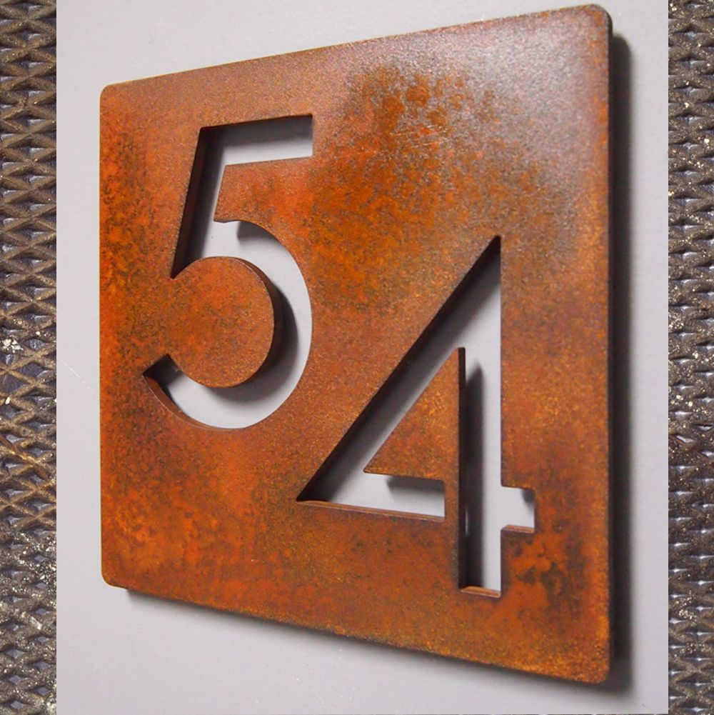 Custom Modern 9 Square Floating House Numbers Rusted Steel House Numbers Metal House Numbers Floating House