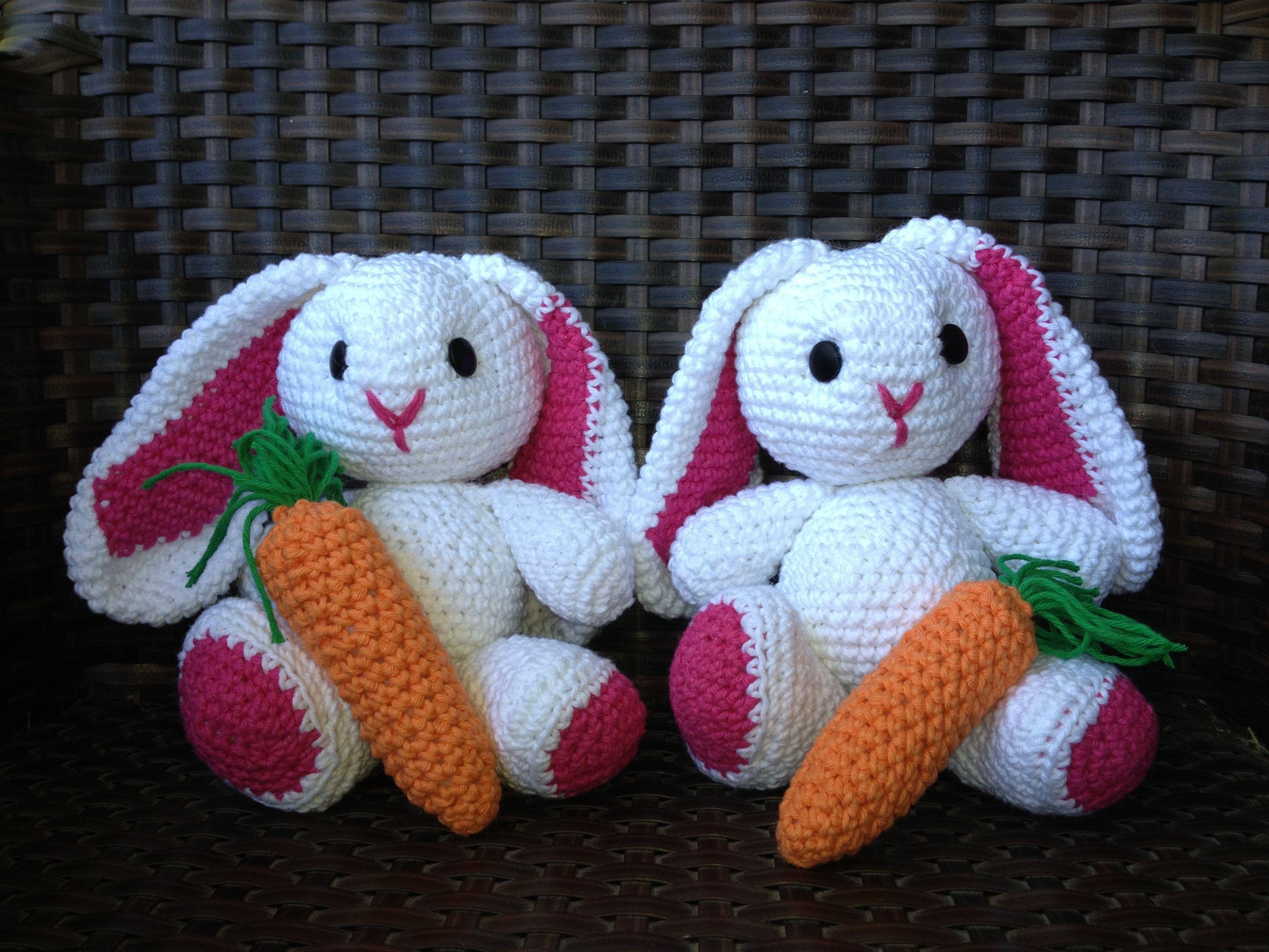 Tejiendoperu Crochet Amigurumis : Haken toy crochet amigurumi conejitos con zanahoria en