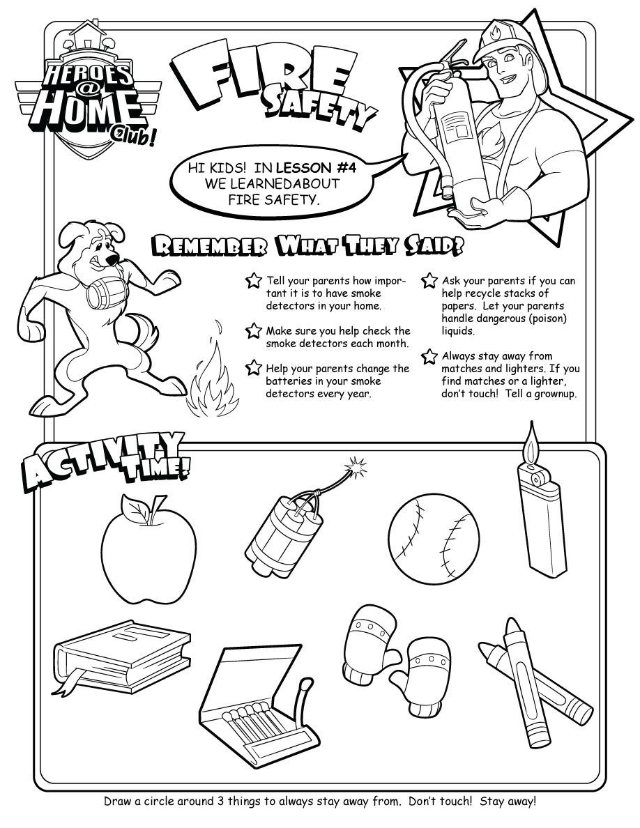 Fire Safety activity page form Heroes at Home – Fire Safety Worksheets for Kindergarten