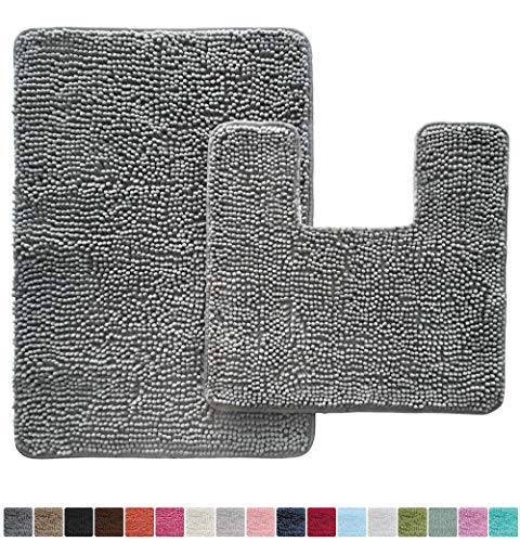 Gorilla Grip Original Shaggy Chenille 2 Piece Area Rug Set Includes Square U Shape Contoured Toilet Mat 30x20 Financial Lifestyle Area Rug Sets Plush Rug Rug Sets