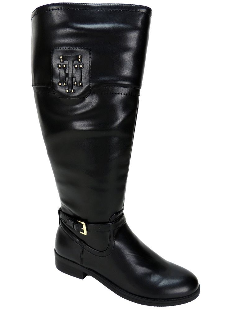 Tommy Hilfiger Women's Drea 2 Wide Calf Riding Boots Black Size 7 M #TommyHilfiger #RidingEquestrian #Casual