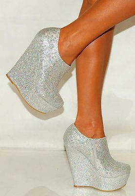 4c9adedd429 Womens Silver Platform Glitter Sparkly High Wedges Shoes Heels Ankle Boots  Gold
