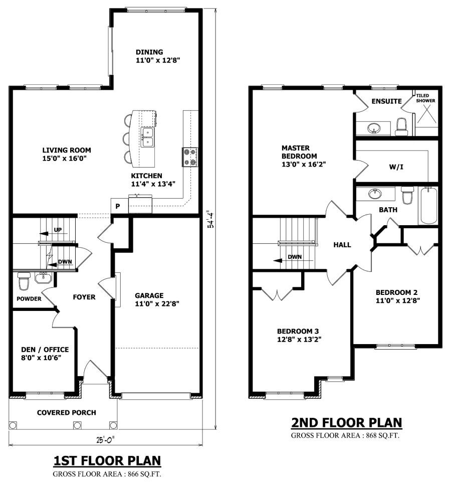 Simple house plan with 2 bedrooms and garage - Small 2 Storey House Plans More