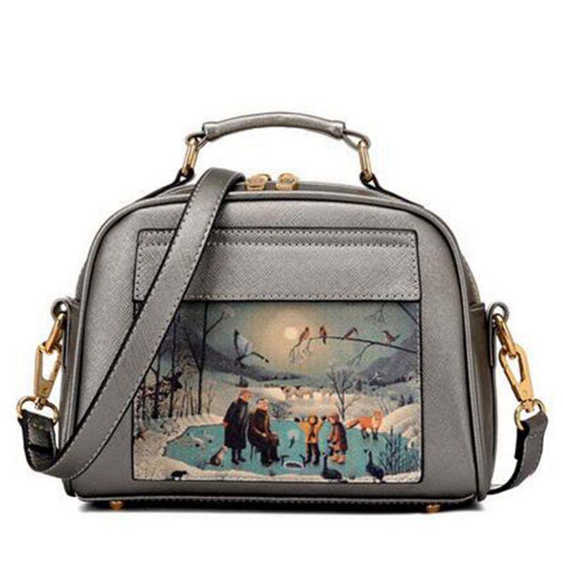 57206622fe29 Bag · Women Bag Handbag PU Leather Women Leather Handbag Casual Oil Picture Pattern  Women Shoulder Bag Fashion