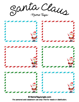 Santa Claus Name Tags Christmas Ideas For Preschool Name Tags