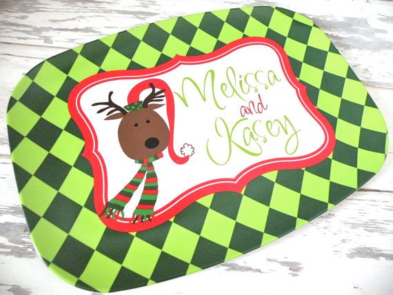 Personalized Christmas Melamine Platter by monkeyseeboutique, $30.00