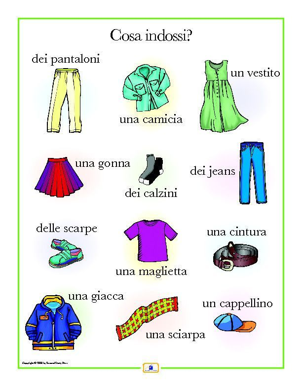 italian clothing poster worksheets learning italian and learn spanish. Black Bedroom Furniture Sets. Home Design Ideas