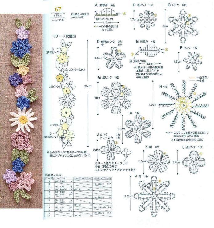 Mini Crochet Patterns | 도안 | Pinterest | Ramo de primavera ...