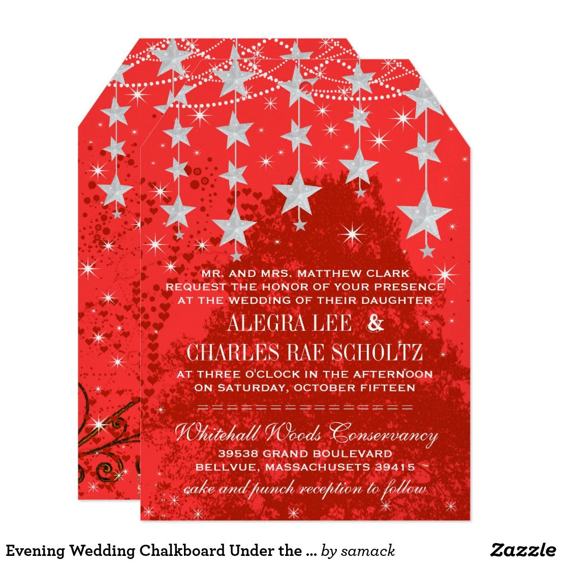 Evening Wedding Chalkboard Under the Stars Card | Typography ...