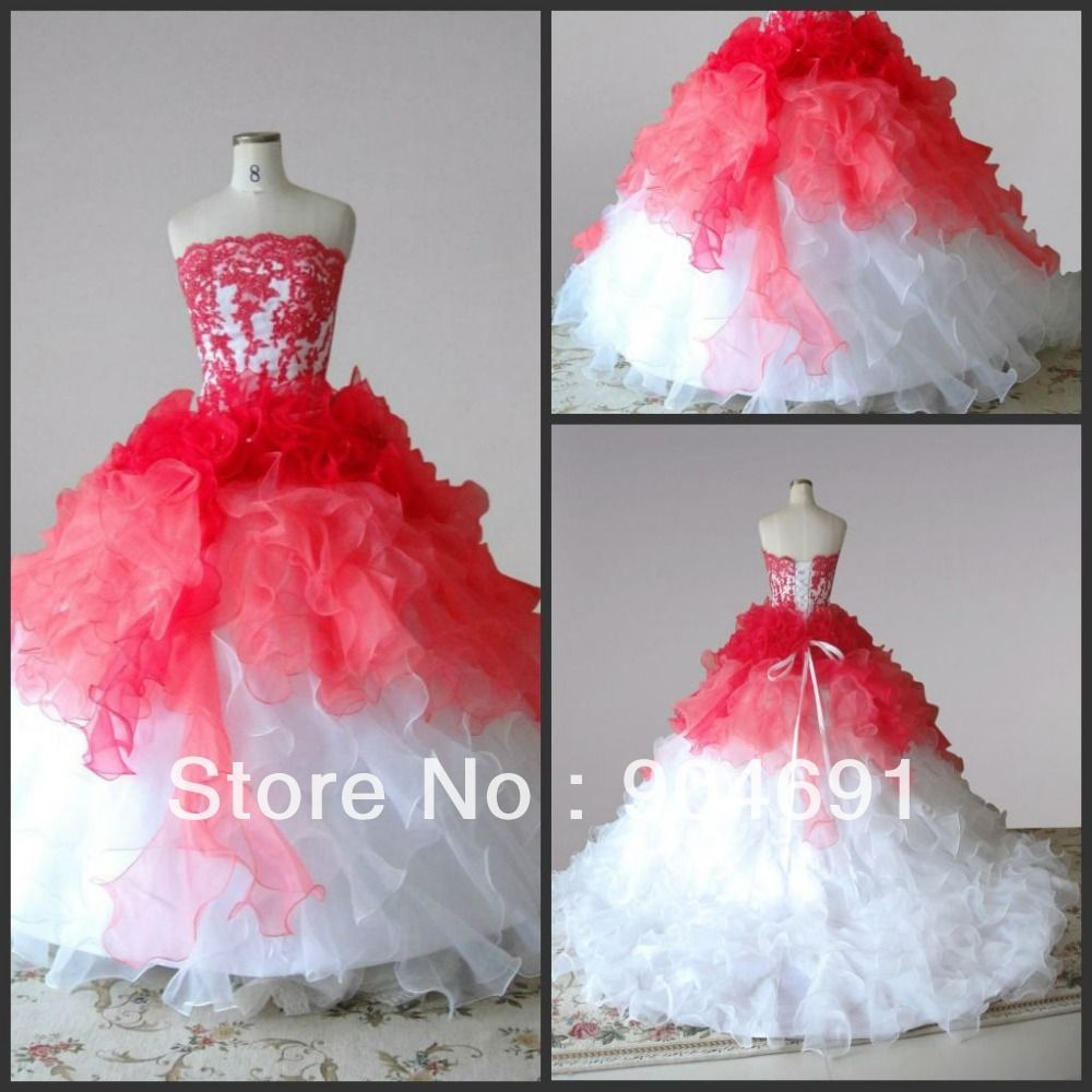 Red white organza junior bridesmaid dress girl stage performance red white organza junior bridesmaid dress girl stage performance gown flower girl dress cascading ruffles pageant ombrellifo Gallery
