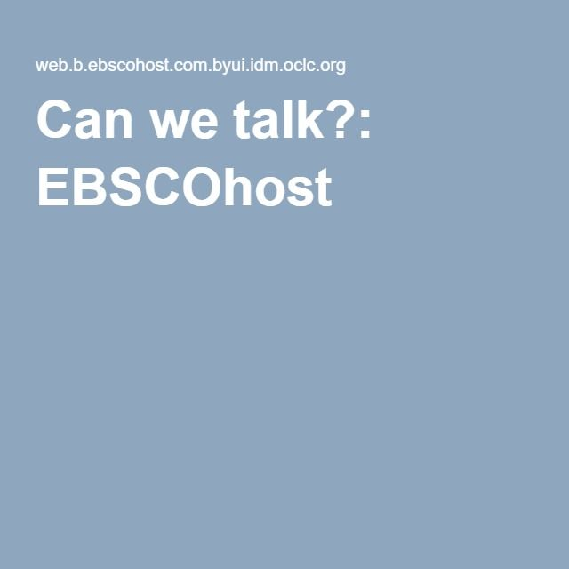 Can we talk?: EBSCOhost