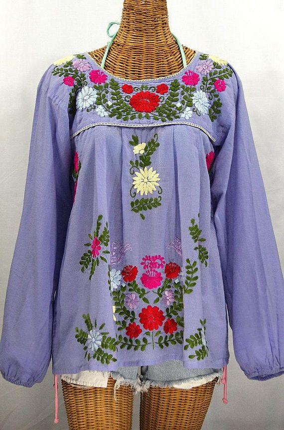 21aefc32b4edfb Long Sleeve Mexican Peasant Blouse Top Hand Embroidered: