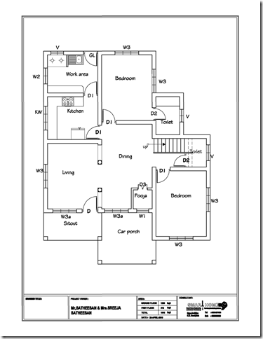 Modern 610 Sqft 3bhk Independent House Villa Floor Plan: 3bhk house plan