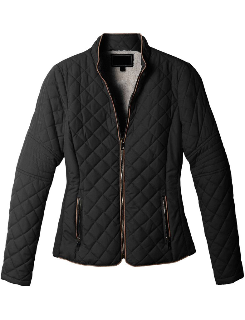 Womens lightweight quilted puffer zip up jacket with pockets my