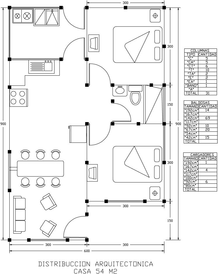 Planos departamentos peque os 60 m2 buscar con google for Planos de casas pequenas de una planta