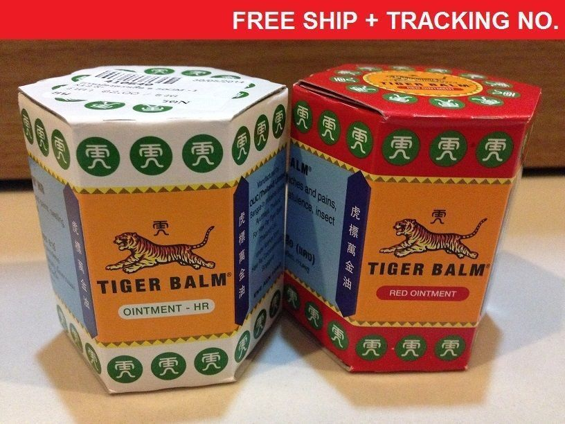2x30g RED&WHITE TIGER BALM OINTMENT-MASSAGE-PAIN RELIEF / FREE SHIP / TRACKING #TigerBalm