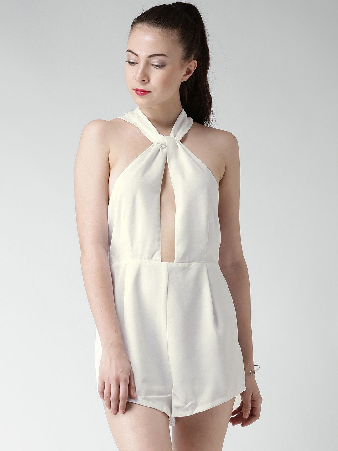 2b3a256e405 Forever 21 Off-White Polyester   Spandex Solid Playsuit