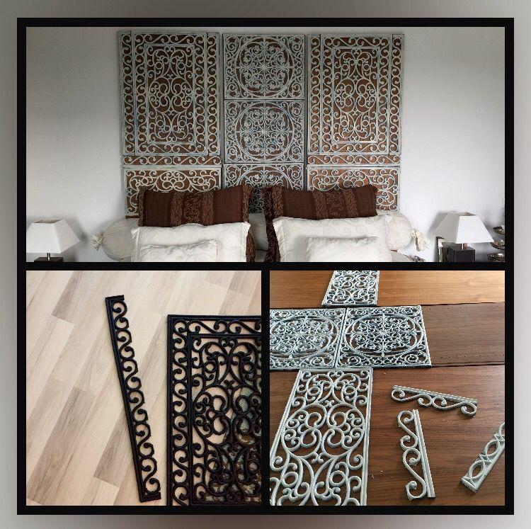 hoofdbord gemaakt van geknipte rubberen matten geverfd en daarna op houten panelen geplakt. Black Bedroom Furniture Sets. Home Design Ideas