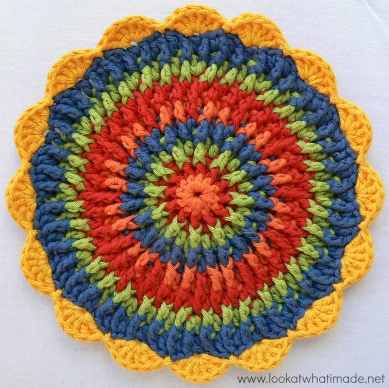 Round Crochet Potholder Trivet Mandala | mandalas crochet patrones ...