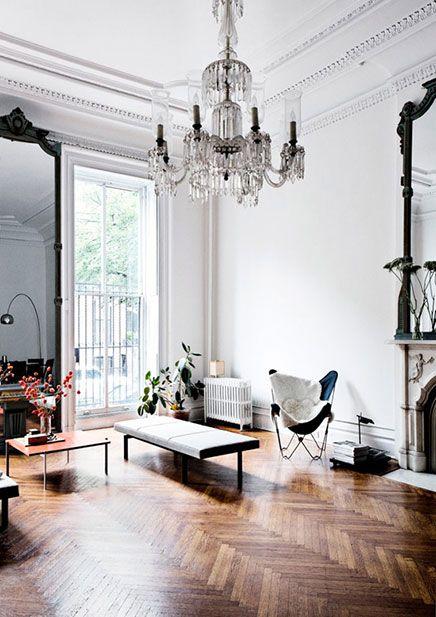 Klassieke woonkamer ideeën uit New York - Ideeën, Trap en Huiskamer
