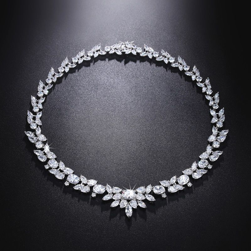 This beautiful cubic zirconia diamond necklace is