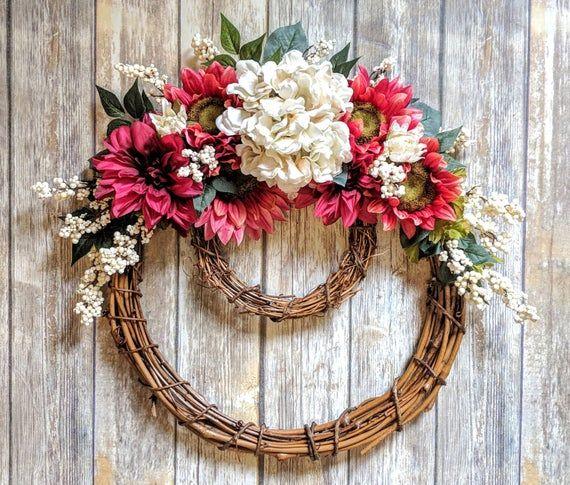 Photo of Spring Grapevine Wreath | Grapevine Wreath With Flowers | Spring Wreath | Easter Wreath | Hydrangea Wreath | Sunflower Wreath