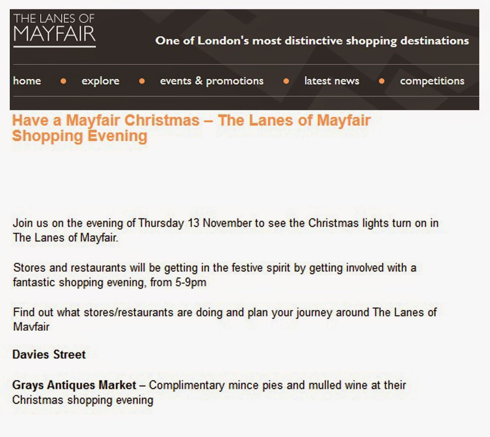 Monday, 10 November 2014:  Online: The Lanes of Mayfair - Grays Late Night Shopping event listing.