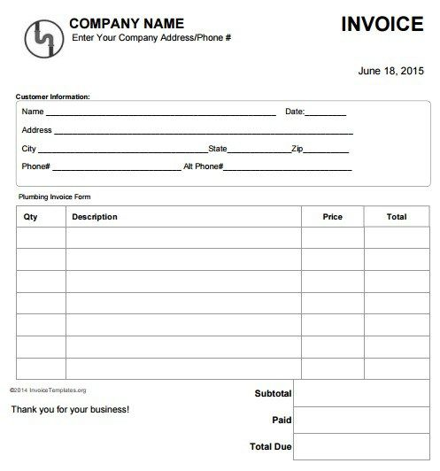 Free Plumbing Invoice Templates  Invoice    Template
