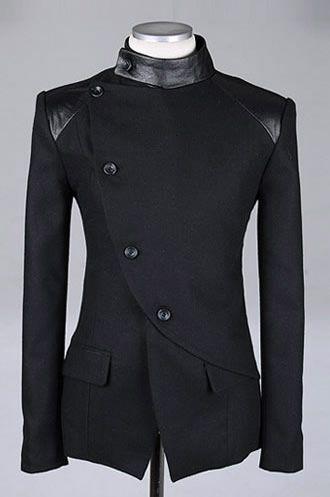 Slant Black Design Style Long Sleeve Men Fashion Buttons British xXg0w8q