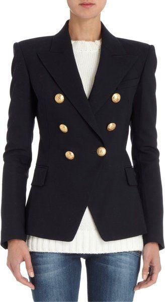 2bb0f5c64dd1 BALMAIN Blue Gold Button Jacket- Lyst | MY HAUTE LYST | Jacket ...