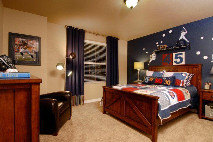 kinderzimmer ideen jungs möbel aus holz blaue wände vorhänge