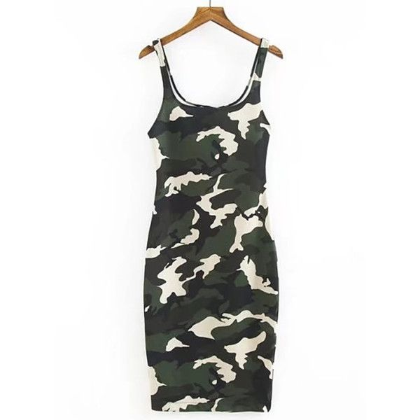 f59b70e22d9a0 Camouflage Print Tank Dress (13 CAD) ❤ liked on Polyvore featuring dresses,  white day dress, camo print dress, camo dress, white tank top dress and ...