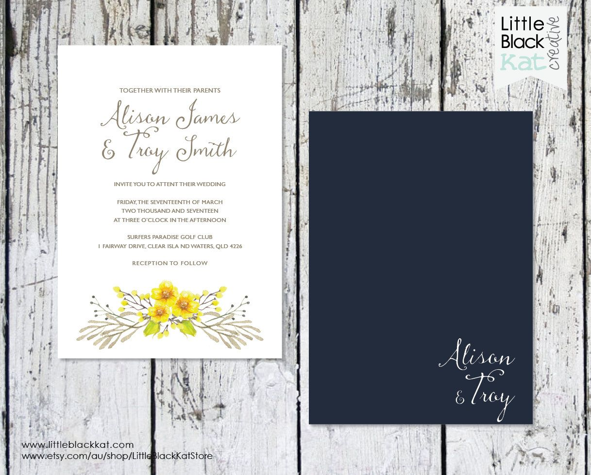 destination wedding invitation rsvp date%0A Floral Watercolour Yellow and Navy Wedding Stationery  Invitation   Save  The Date   Rsvp Card
